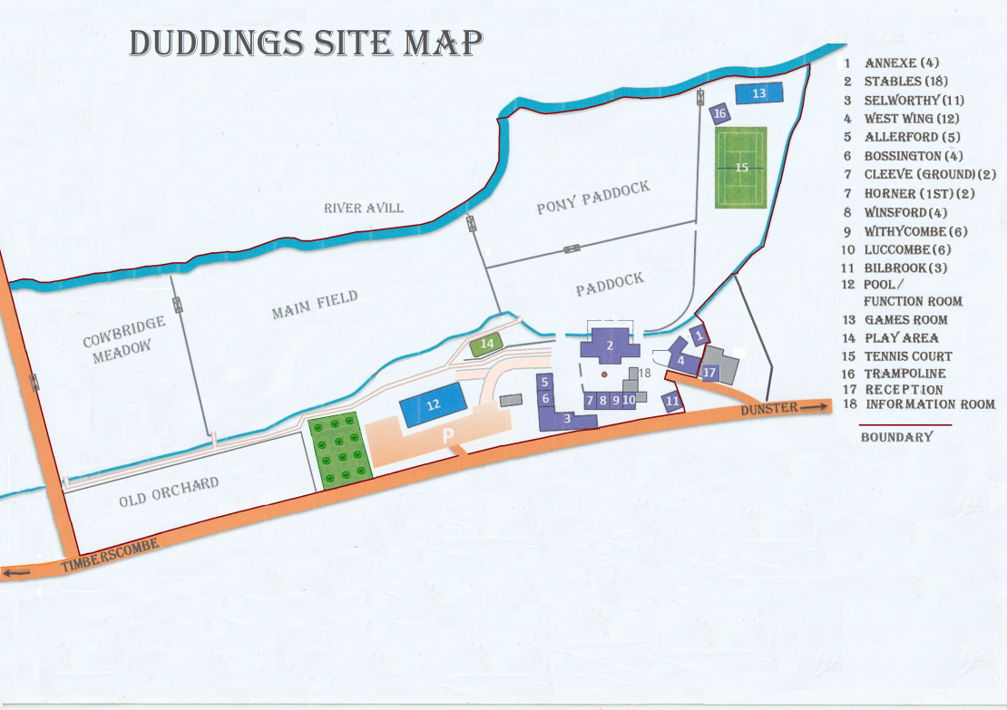 Site Map of Duddings Country Cottages